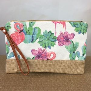 Flamingo Cactus Canvas Pouch